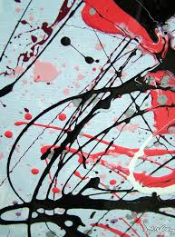 This Is A Large Drip Painting In Pink Purple Black And White Enamel Paints