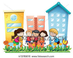 Clip Art Of Kids Playing Outside The Building K13785616