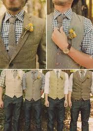 Vest Mens Fashion Handsome Groom Tweed Groomsmen Gingham Rustic Wedding Casual