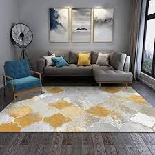 qiji home designer teppich modern schlafzimmer wohnzimmer teppich gelb grau weiß geometrisch weiche bequem anti rutsch yogamatte 1 2x1 6m
