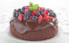 bilder schokolade torte erdbeeren heidelbeeren 3840x2400