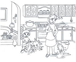 Kitchen Coloring Pages Free Printable Within