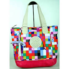 Brand New Authentic Kipling Shopper Combo Shoulder Bag Color Squared Print Pink Php 3900