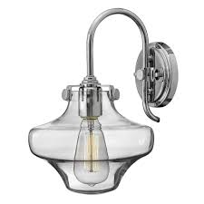 hinkley lighting congress clear glass wall light in chrome