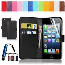 Magnetic Leather Flip Wallet Case Cover For iPhone 4S 5S Screen