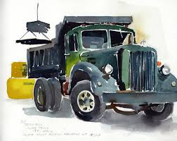 1951 Mack Slate Truck | Vermont Watercolor Artist Tony Conner