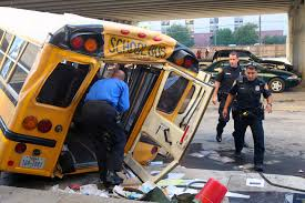 School Bus Plunges From I-37 Downtown - San Antonio Express-News