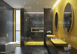modern black and yellow gold bathroom with hexagonal tiles at side stock photo image now