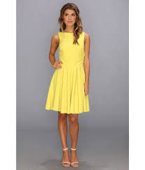 badgley mischka fit and flare cocktail dress open back in yellow