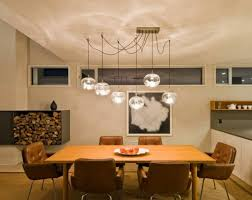 Contemporary Dining Room With Round Multiple Glass Pendant Luxury Light For