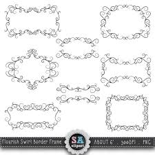 Flourish Swirl Border Frame Clipart FLOURISH SWIRL FRAME Clip Art Pack Framewedding Invitation Instant Download Fsc002