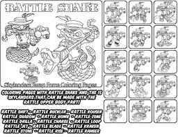Printable Coloring Page For Kids With Skylanders Swap Force RATTLE SHAKE And All The Different Skylander