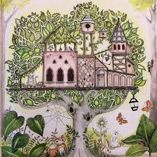 The Enchanted Forest Tree Houses Coloring Books Colouring Johanna Basford Secret Garden Pencil Art Therapy Colored Pencils Markers