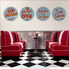 Diner Advertisement Wall Decal Set Retro Kitchen Wall Decor
