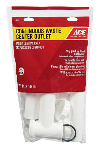 "Ace Plastic Continuous Waste Center Outlet - White, 1.5""x16"""