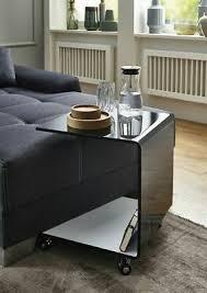 beistelltisch couchtisch glastisch auf rollen schwarz weiß