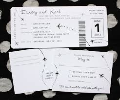 Black White Airplane Dots Boarding Pass Wedding Invitations