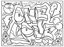 One Love Graffiti Free Coloring Page Printable Tutorials Showing Gods God With All Your Heart Pages