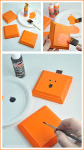 Square Pumpkin Wood Plaques Easy Halloween Craft Idea