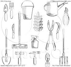 Clipart of a Black and White Sketched Garden Trowel Knife Fork Shears Rake Scissors Spray Bottle Weeding Hoe Sickle and Watering Can Royalty Free