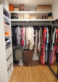 White Varnished Particle Wood Small Walk In Closet With Diy