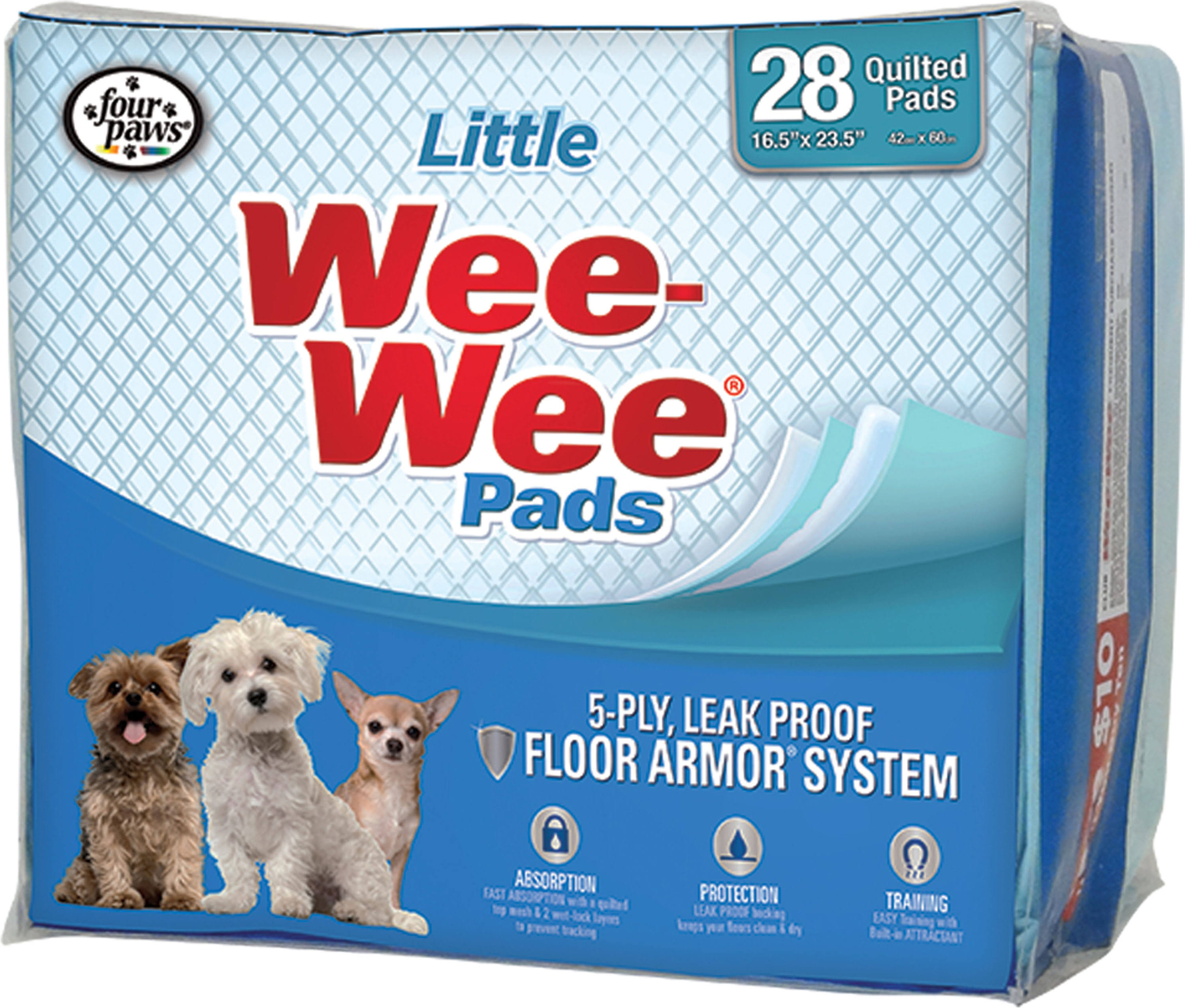 Four Paws Products Lil Dog Wee Wee Pads - 28 Quilted Pads