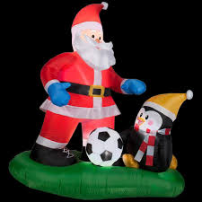 Grinch Blow Up Yard Decoration by Home Accents Holiday 5 Ft Inflatable Santa Soccer Scene 88539
