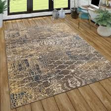 teppich wohnzimmer vintage design kurzflor mit abstraktem muster modern braun blau grösse 120x170 cm