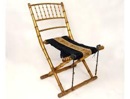chaise pliante bois doré bambou broderies fleurs napoléon iii xixè