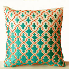Throw Pillows Teal Orange Decorative Pillowcase In Thread and