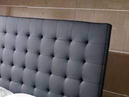 Black Leather Headboard With Crystals by Modrest Lyrica Black Leatherette Tall Headboard Bed Quick Ship