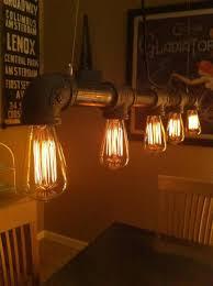 industrial vintage look 5 light edison bulb iron pipe