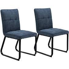 homexperts esszimmer stuhl 2 er set tilda gepolsterte stühle vintage stoff bezug dunkel grau metall gestell in schwarz polster stühle