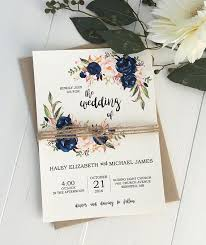 Rustic Navy Wedding Invitation Suite Modern Bohemian Wedding