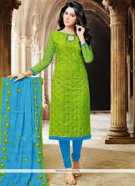 Resham Work Cotton Churidar Designer Suit