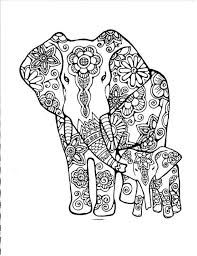 Elephants Abstract Doodle Coloring Pages