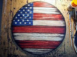 American Flag Painted On Worn Out Wood