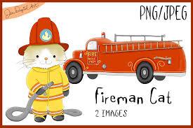 100 Clipart Fire Truck Man Cat Truck Illustration Graphic By Jen Digital