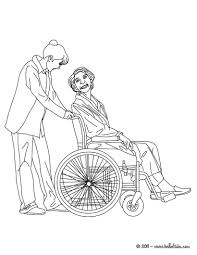 Nurse Preparing Medecines Taking Care Of An Old Patient Coloring Page