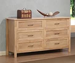 Amazon Olympus Natural Six Drawer Wood Dresser Chest