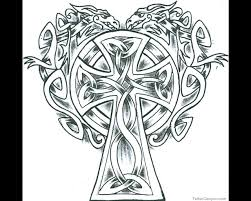 Celtic Cross With Two Tattoo Design Within Elaborate Coloring Pages