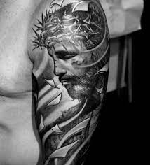 3d Mens Jesus With Crown Of Thorns Male Half Sleeve Tattoos