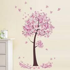 home decor wandtattoo wandsticker wandaufkleber baum pinke blüten wohnzimmer 150 x 150 w090 home furniture diy itkart org