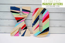 Painted Geometric Wooden Letters JADERBOMB