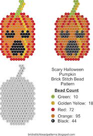 Scary Pumpkin Printable by Brick Stitch Bead Patterns Journal September 2016