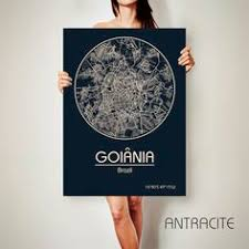 Goiania Brazil CANVAS Map Poster City Art Print