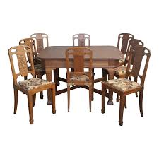Antique French Oak Art Nouveau Dining Set - 9 Pieces | Chairish Set Of 8 Vintage Midcentury Art Nouveau Style Boho Chic Italian Stunning Of Six Inlaid Mahogany High Back Chairs 2 Pair In Antiques Atlas Lhcy Solid Wood Ding Chair Armchair Lounge Nordic Style A Oak Set With Table Seven Chairs And A Side Ding Suite Extension Table France Side In Leather Chairish Gauthierpoinsignon French By Gauthier Louis Majorelle Caned An Edouard Diot Art Nouveau Walnut And Brass Ding Table Four 1930s American Classical Shieldback 4