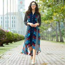 Buy Blue Georgette Kurti In High Low Style At Rs 1245 Get Latest