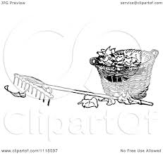 Clipart A Retro Vintage Black And White Rake And Basket Autumn Leaves Royalty Free Vector Illustration by Prawny Vintage