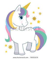 Cute Little Baby Unicorn With Rainbow Hair Isolated On White Cartoon Style Vector Illustration Fantasy
